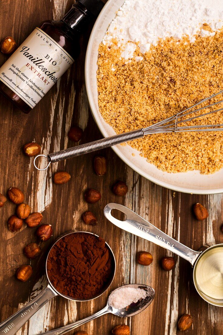 Ingredients for homemade nut and cocoa spread
