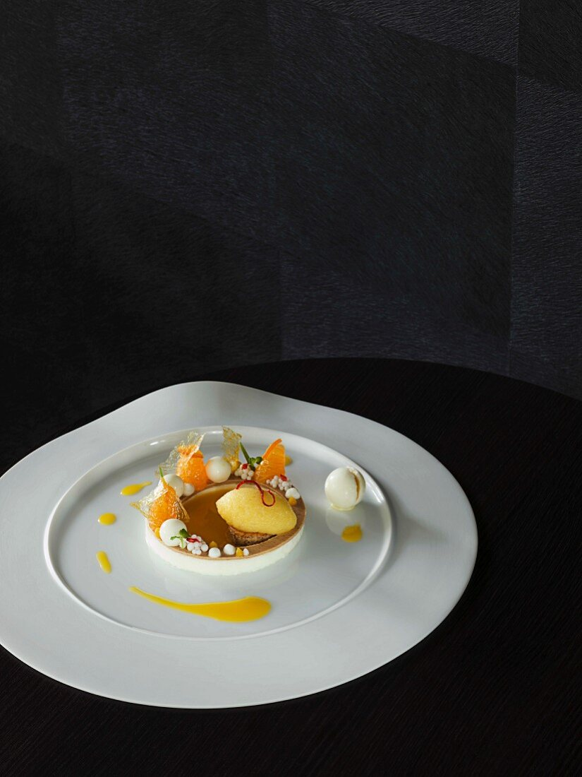 Yoghurt and sage and mandarin sorbet as a dessert at the 'Schanz' restaurant in Piesport, Germany