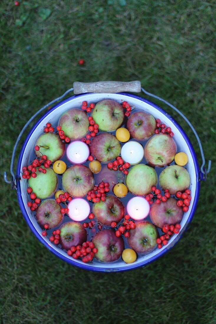 Floating candles, apples and berries in a bucket of water as an autumn decoration