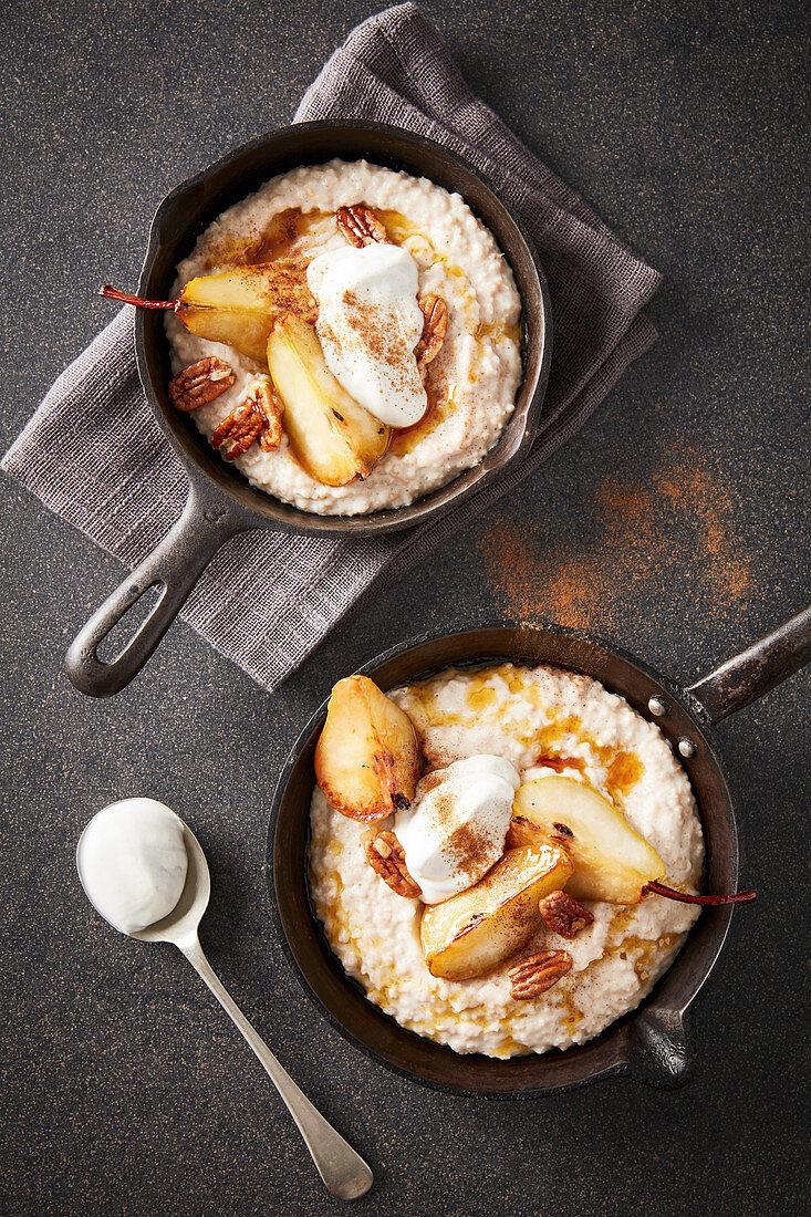Porridge with caramelised pears, pecan nuts, and vanilla yoghurt