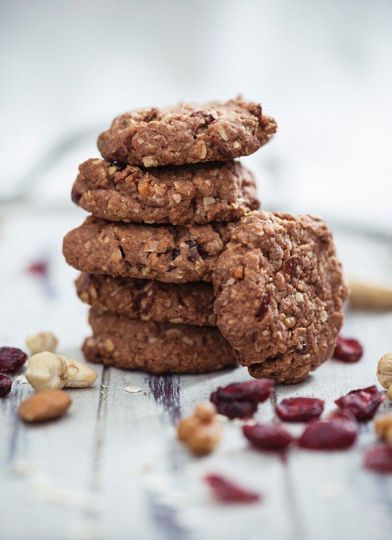 Vegan muesli biscuits with cranberries, nuts and porridge oats