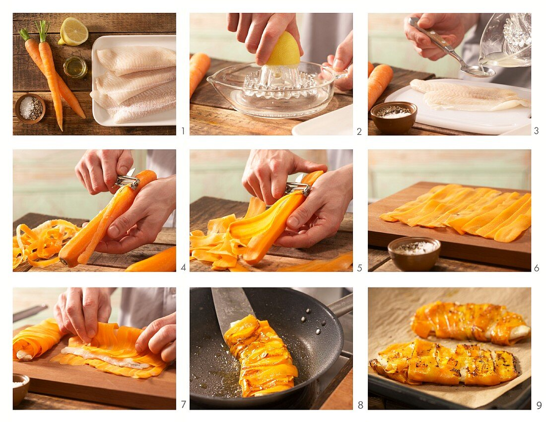 Baked, carrot-wrapped plaice fillet being made