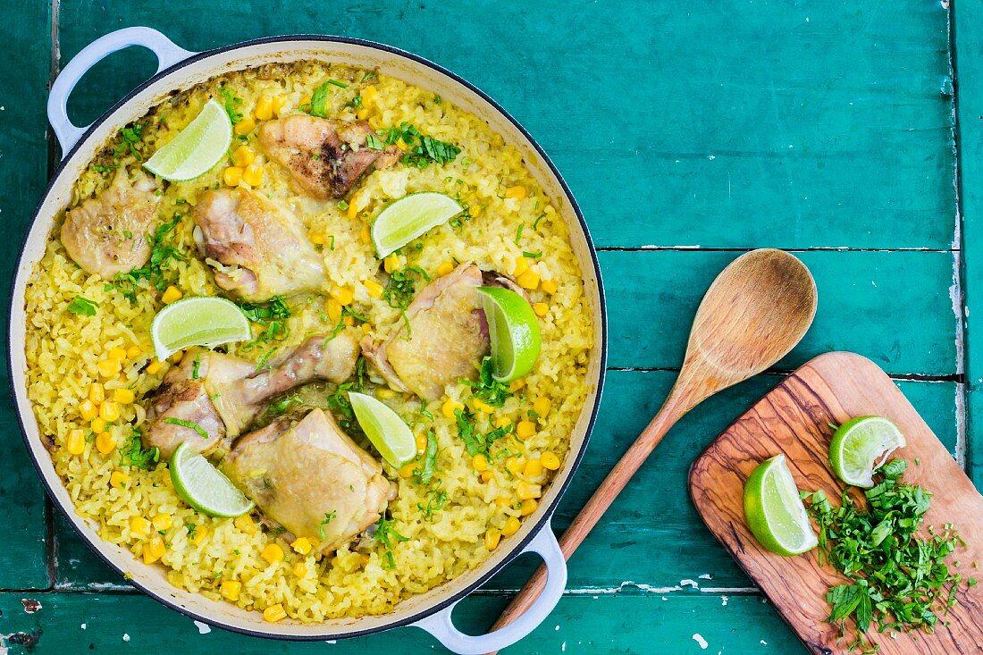 Galinhada (Brazilian chicken with saffron rice)