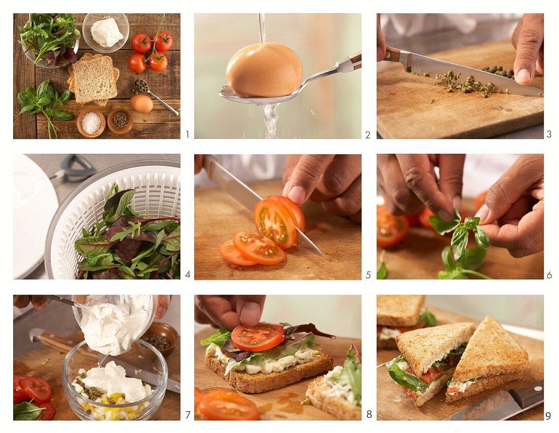 How to prepare a tomato sandwich with spicy egg cream