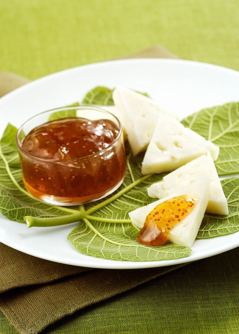 Pecorino cheese with fig compote