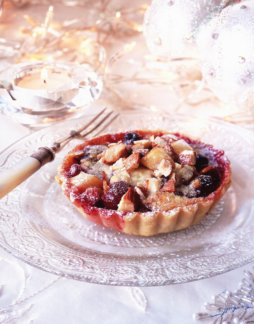 Fruit and nut tart for Christmas