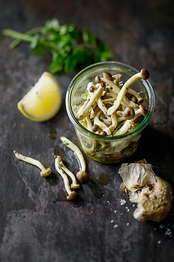 Pickled enoki mushrooms with garlic, lemon juice and parsley