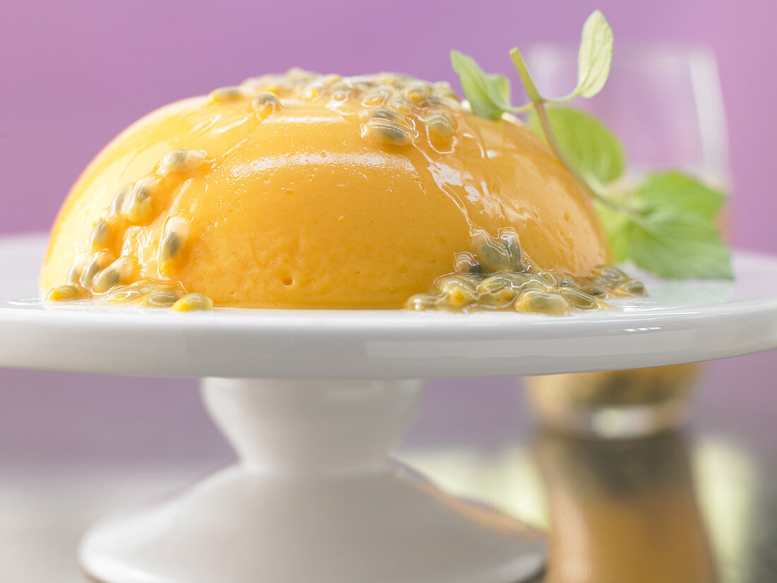 Mango and passion fruit ice cream with mint