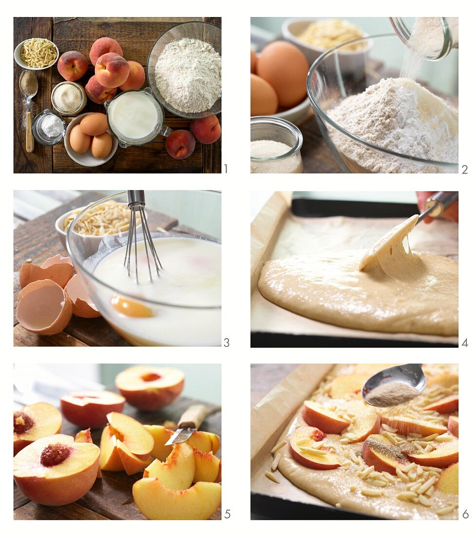 Make the peach cake from the plate with buttermilk and almonds