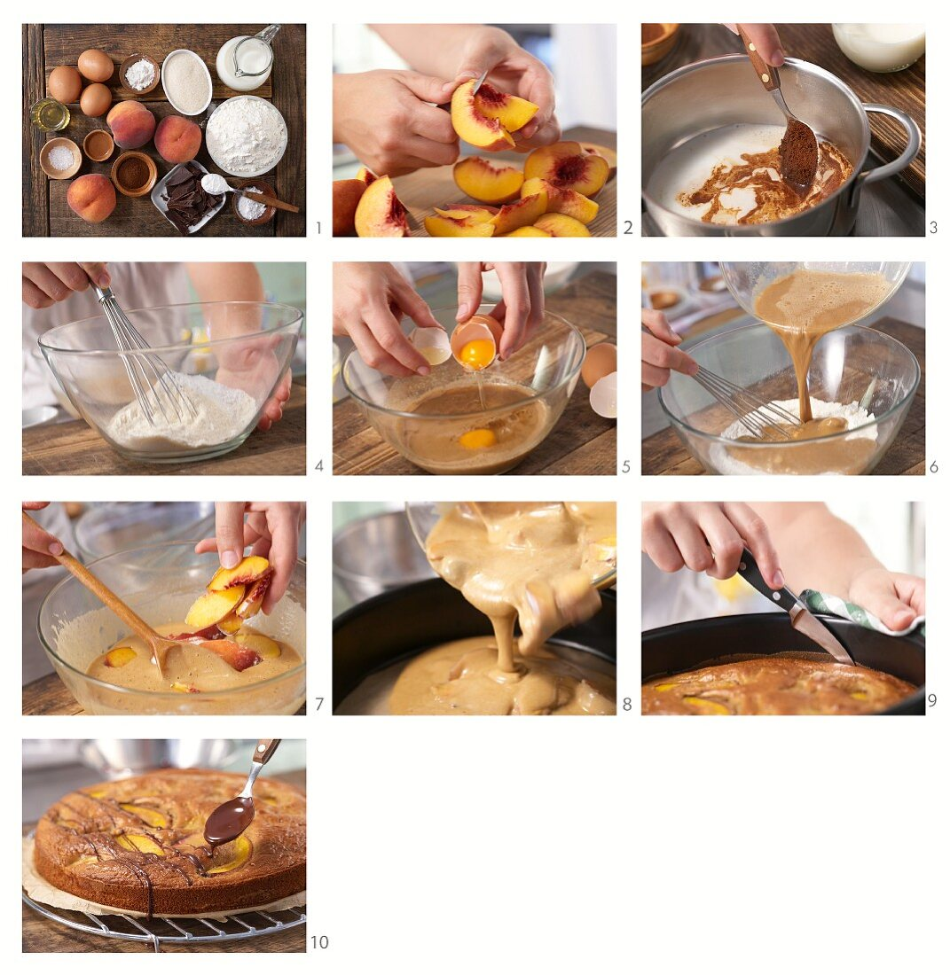 How to prepare a coffee cake with peaches and chocolate decorations