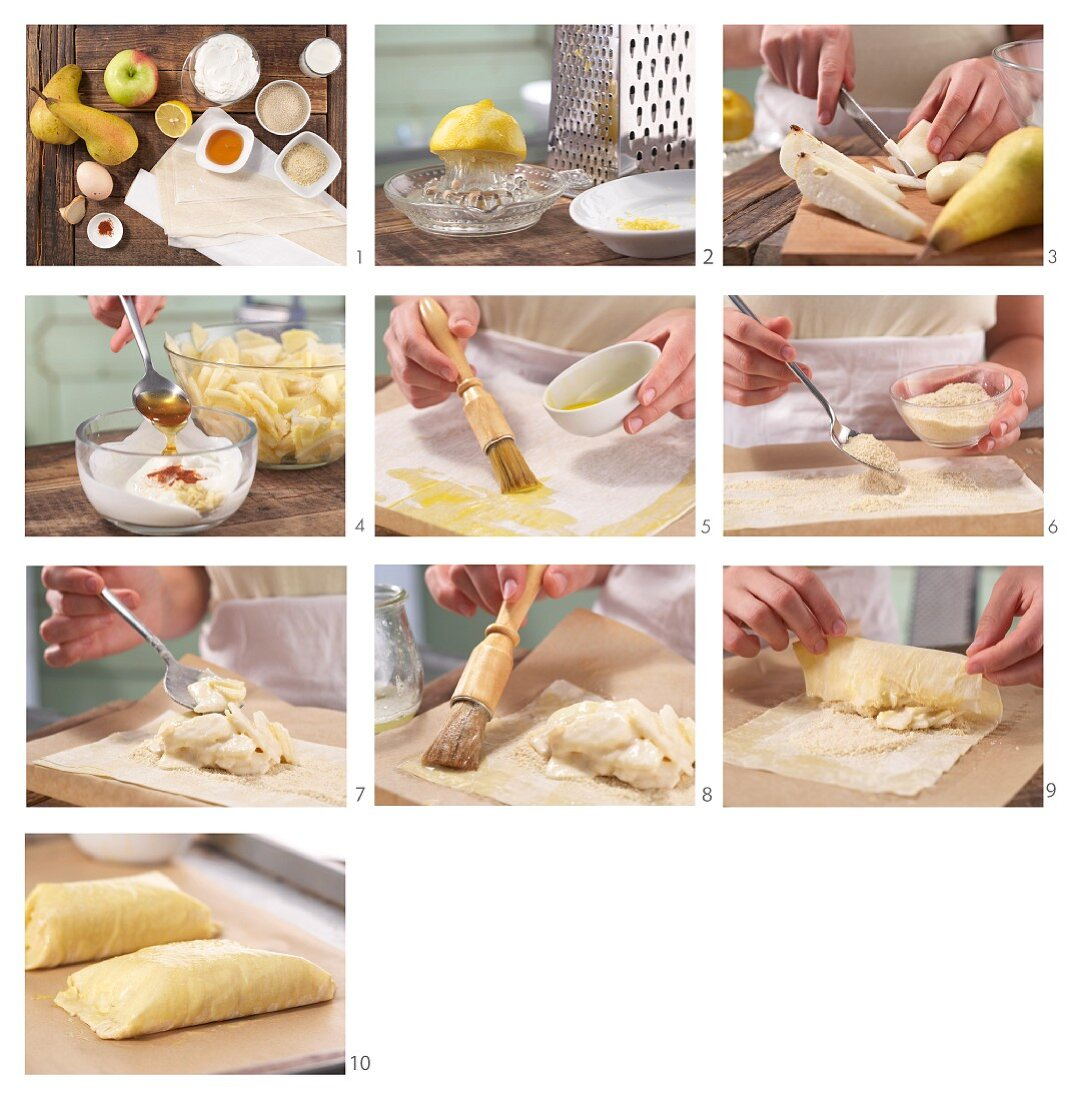 How to make apple, pear and ginger quark pastries