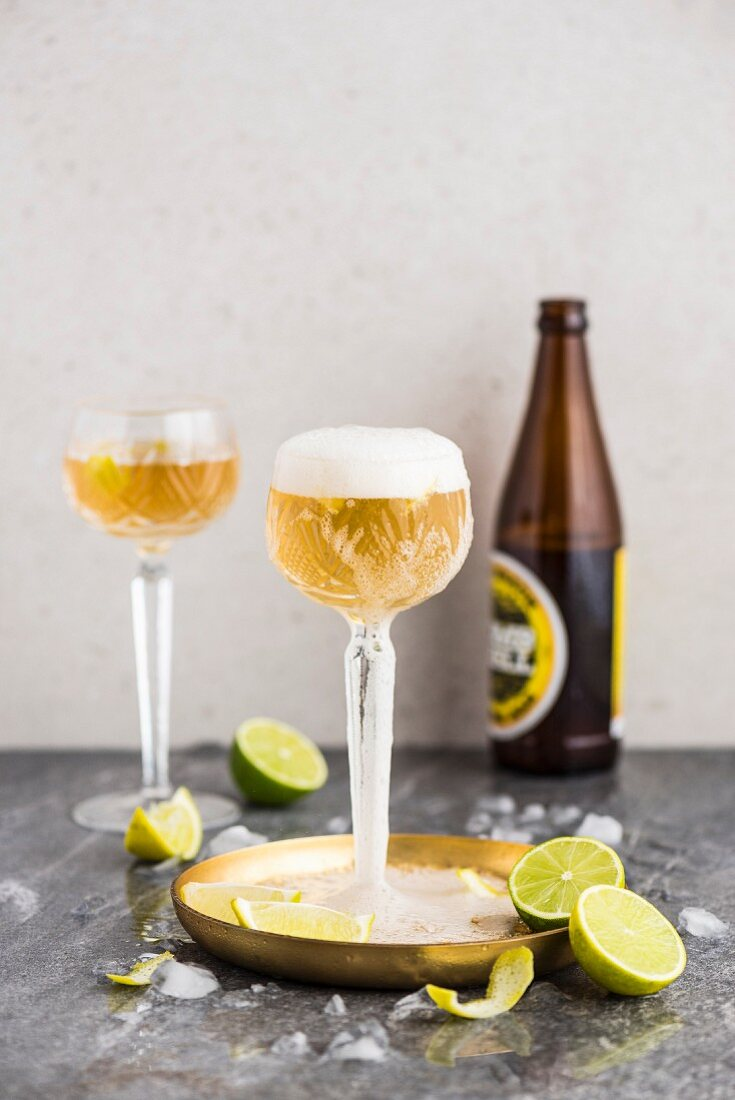 Golden Moments beer cocktails with lime