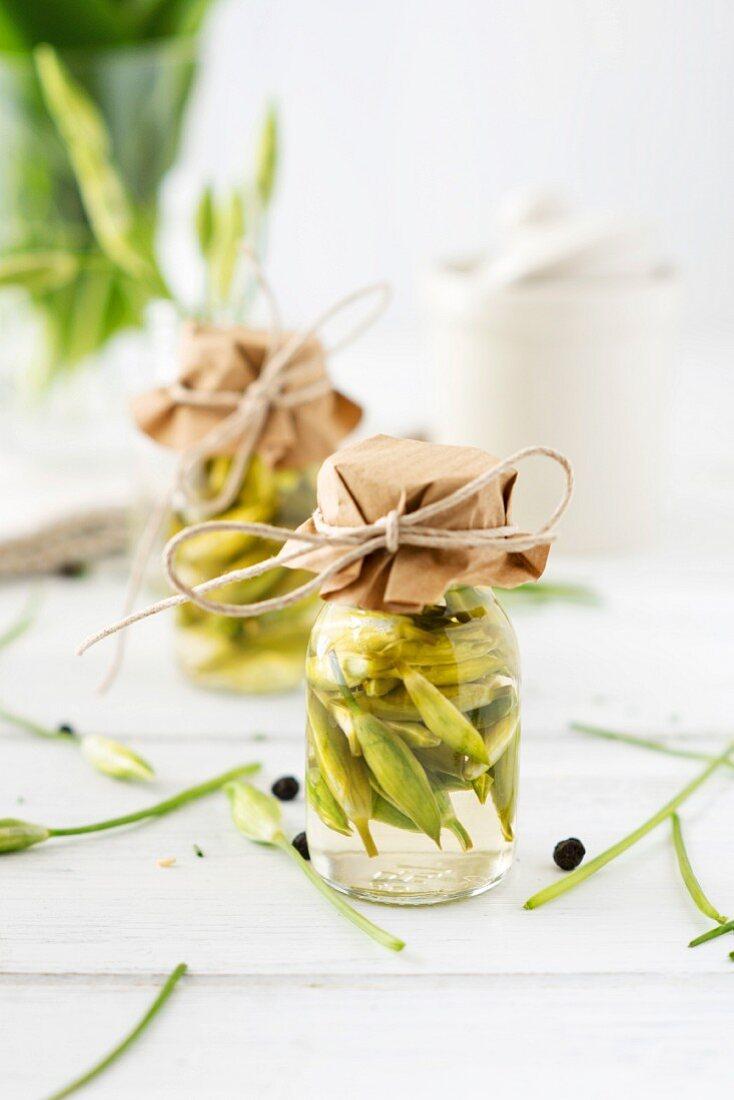 Wild garlic buds picked in vinegar