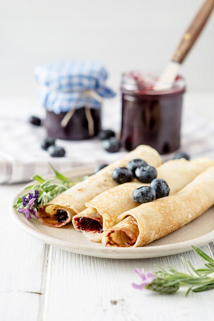 Pancakes with blueberry jam
