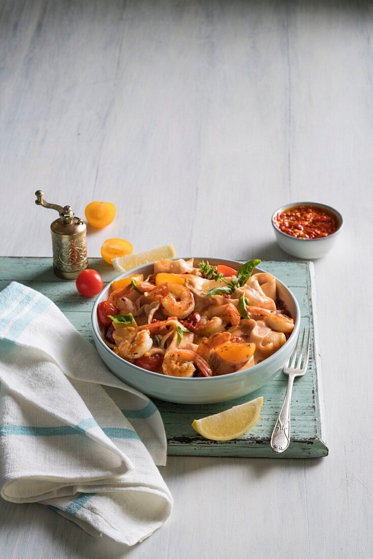 Papardelle pasta with paprika prawns and balsamic vinegar tomatoes
