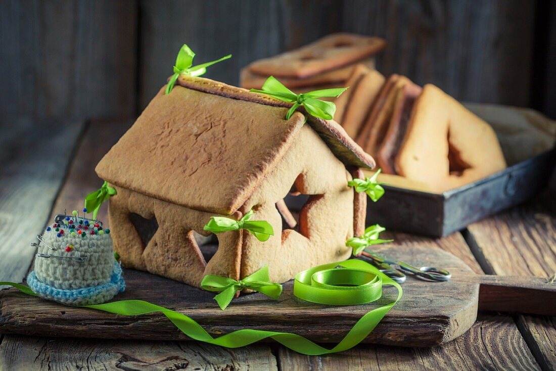 A homemade gingerbread house for Christmas