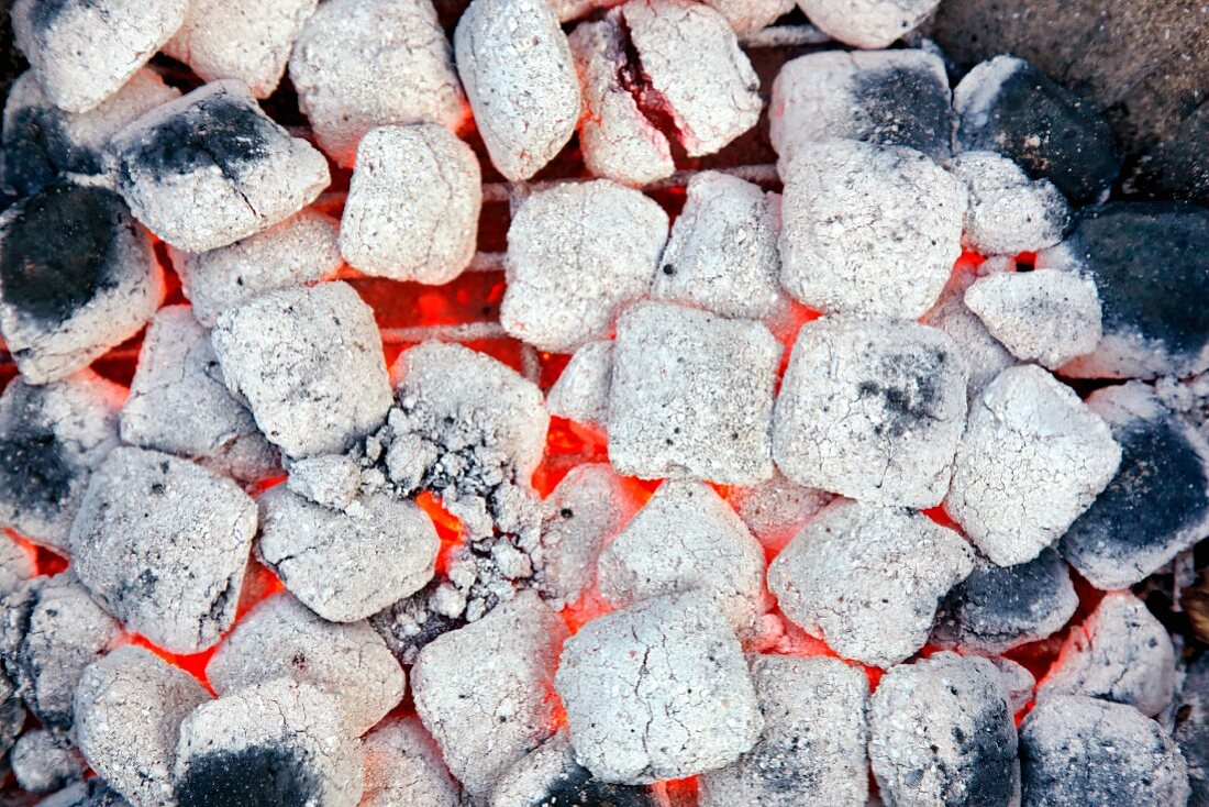 Glowing barbecue briquettes (seen from above)