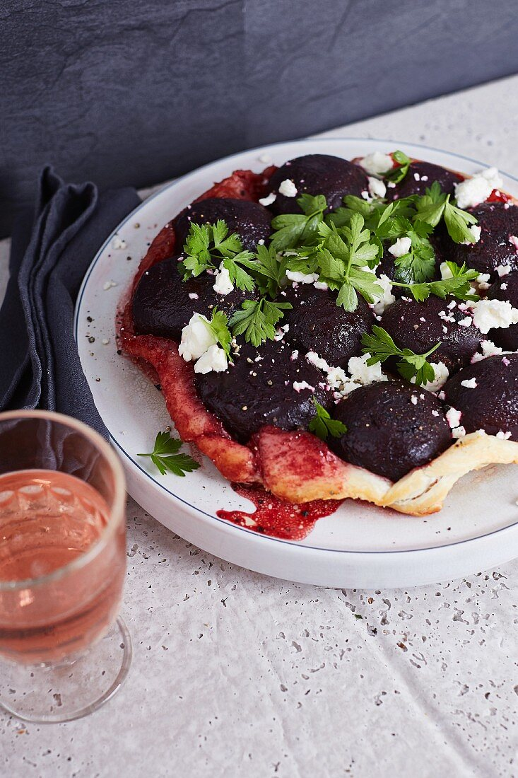 A savoury tarte tatin with beetroot, feta cheese and parsley