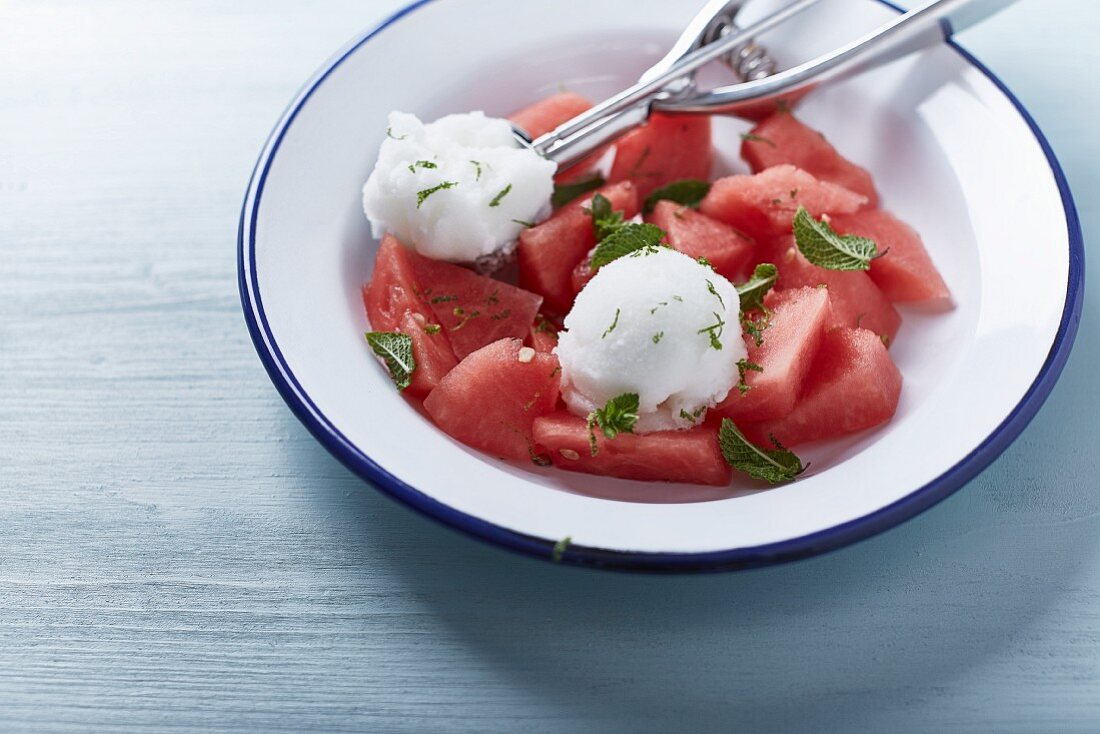Watermelon with lime sorbet and mint