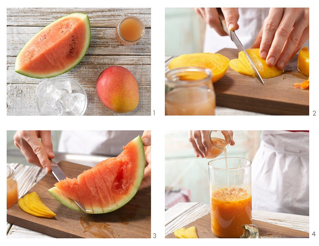 Making a guava mango drink with melon