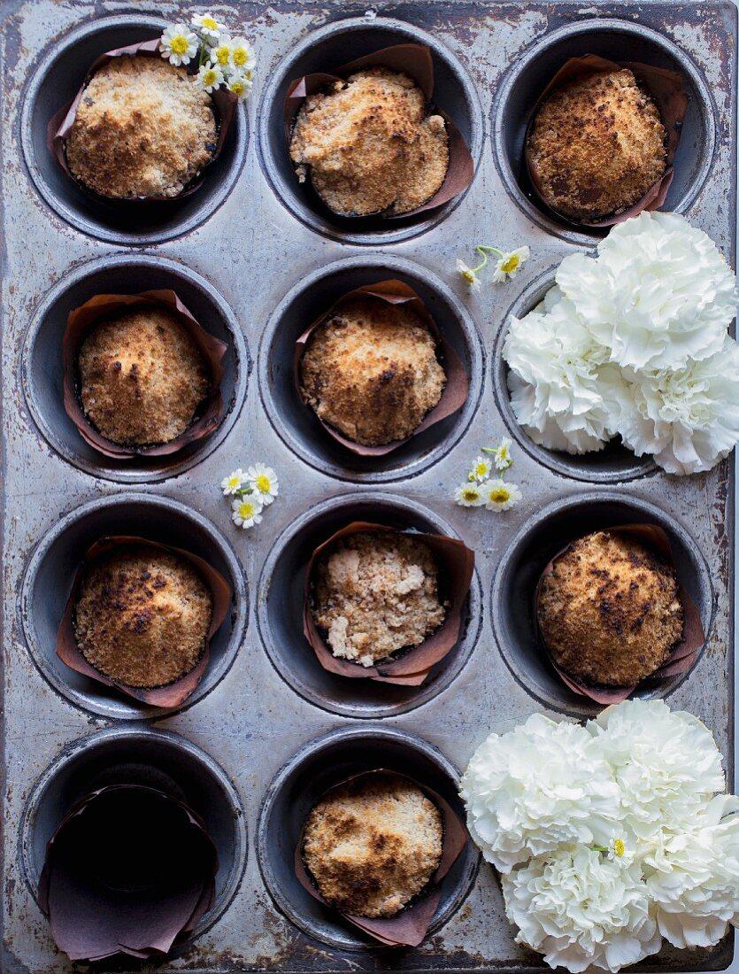 Coffee cake muffin in a muffin tin