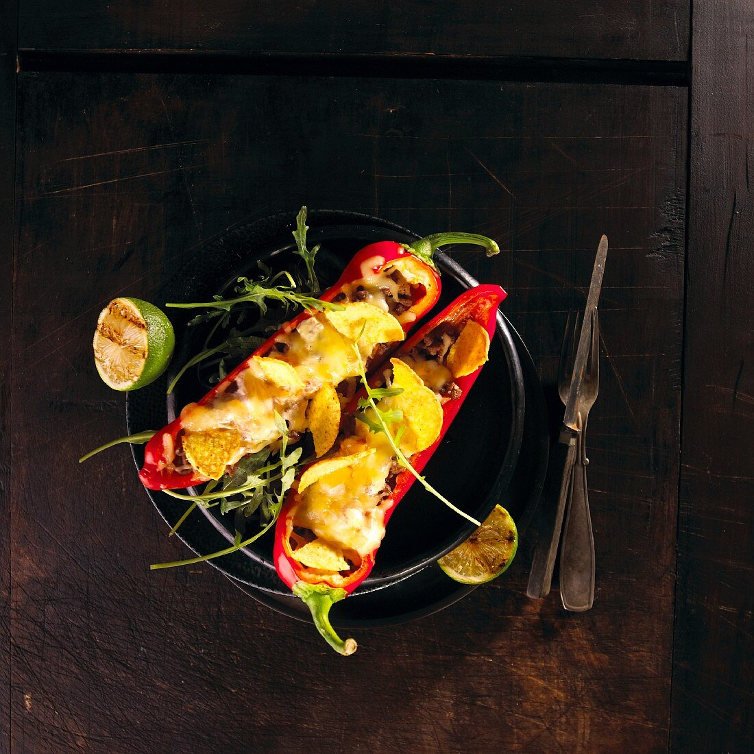 Red peppers stuffed with nachos (Mexico)