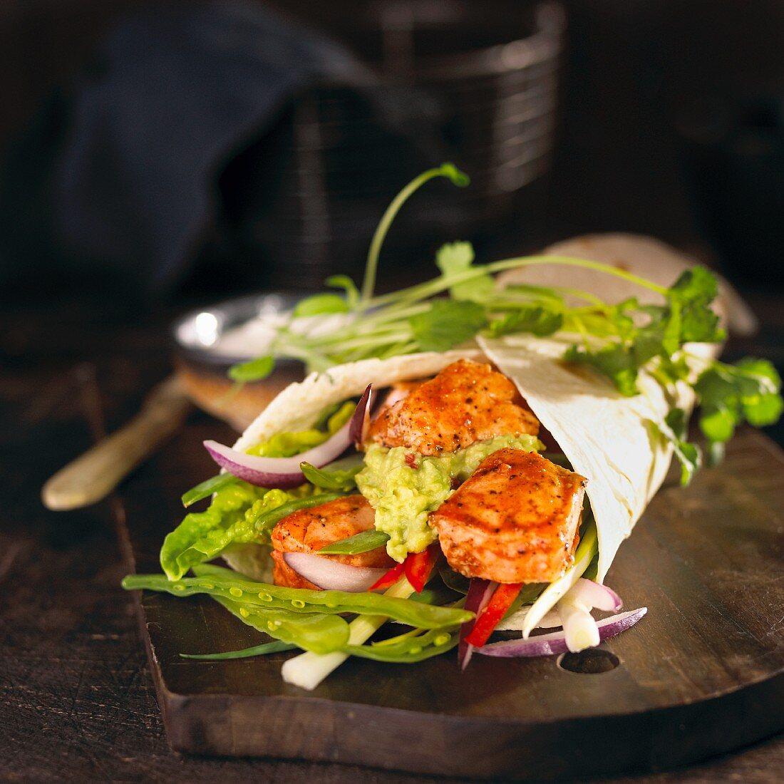 A fish and guacamole wrap (Mexico)