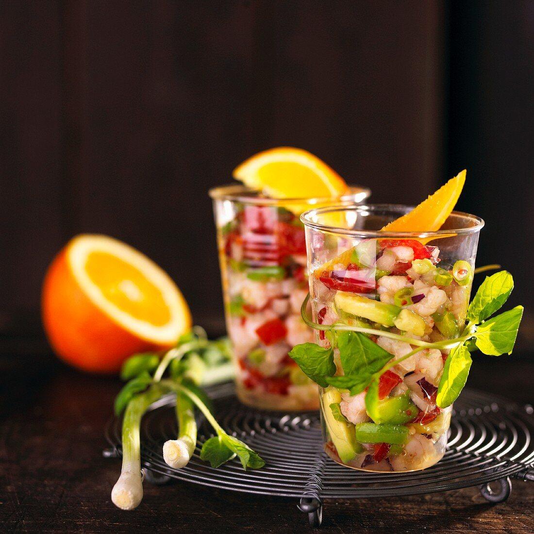 Avocado salad with prawns (Mexico)