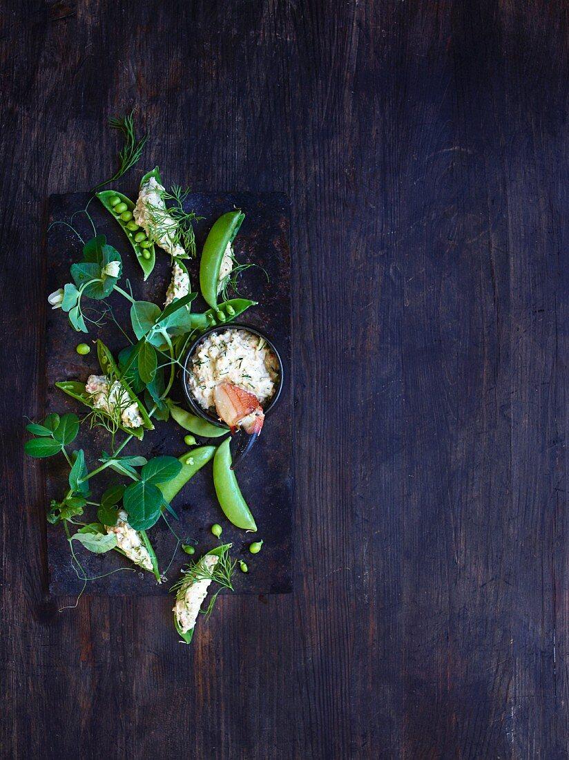 Sugar snap peas and a crab dip with creme fraiche and horseradish