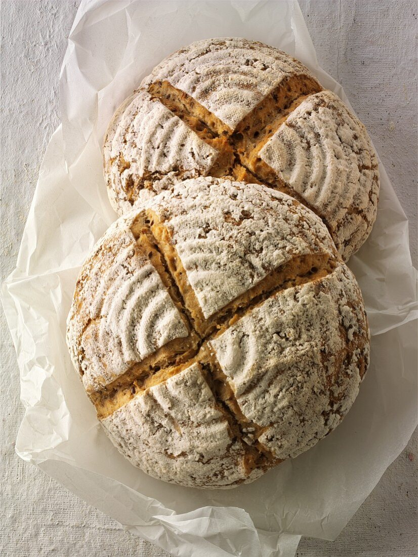 Handmade sour dough wholemeal bread made with rye flour