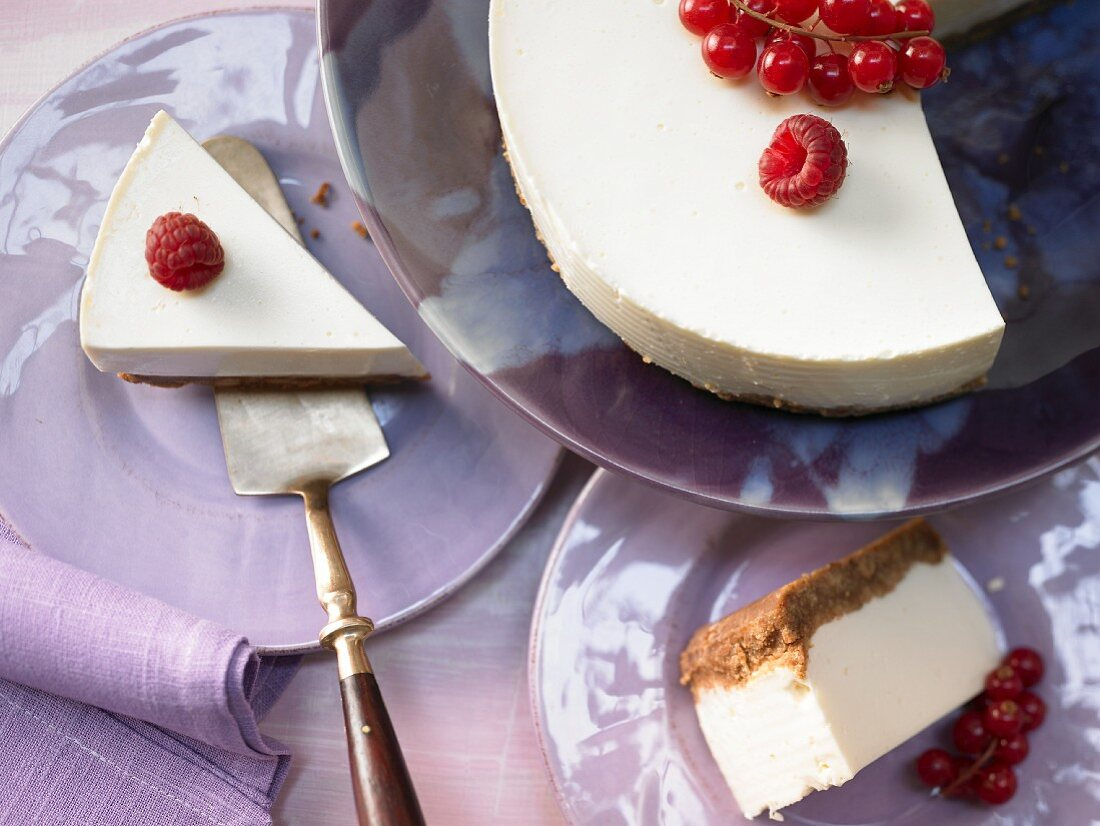 Fresh cheese and yoghurt cake with a biscuit base