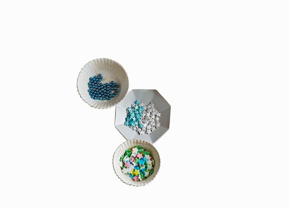 Sugar pearls and stars for decorating biscuits
