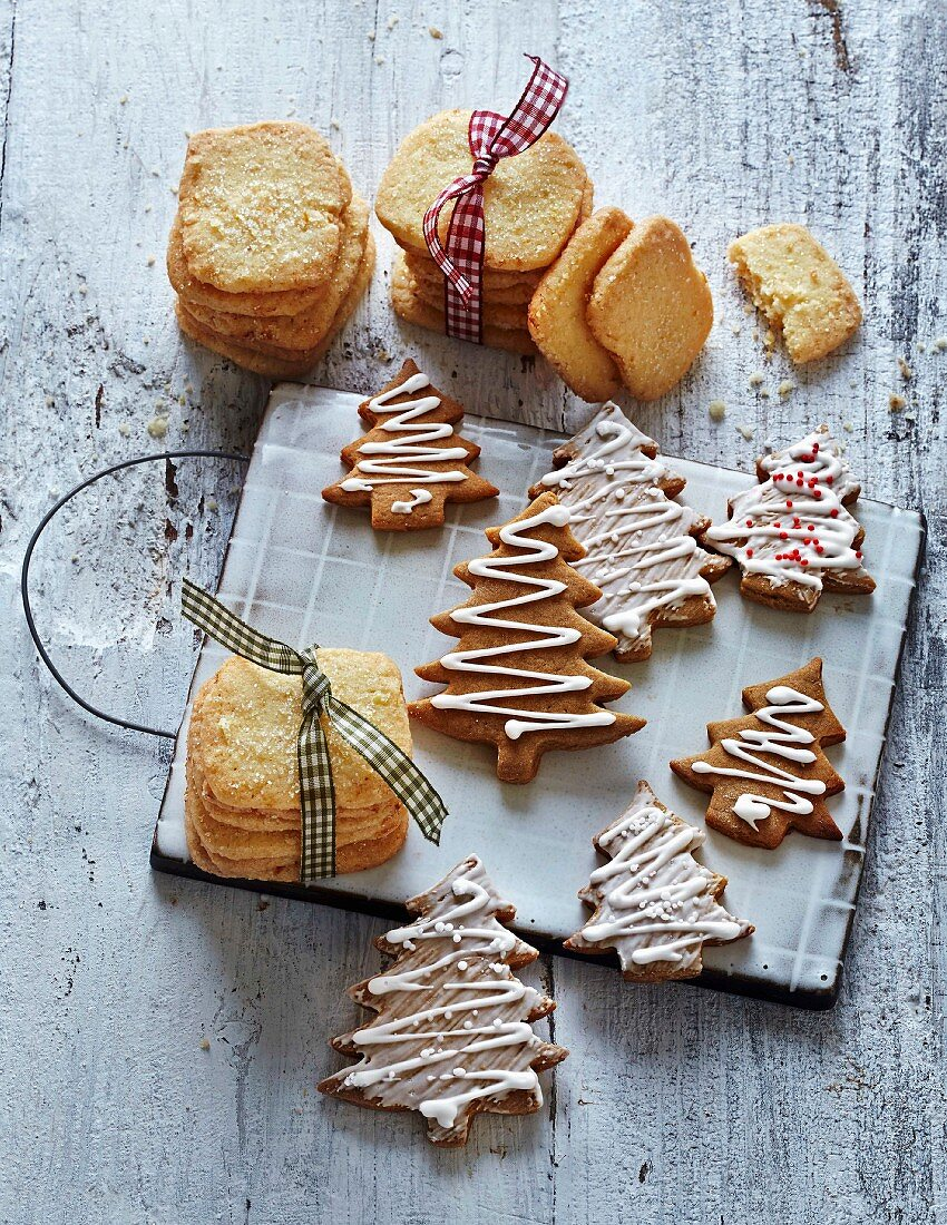 Classic Christmas biscuits: shortbread cookies made with browned butter and gingerbreads