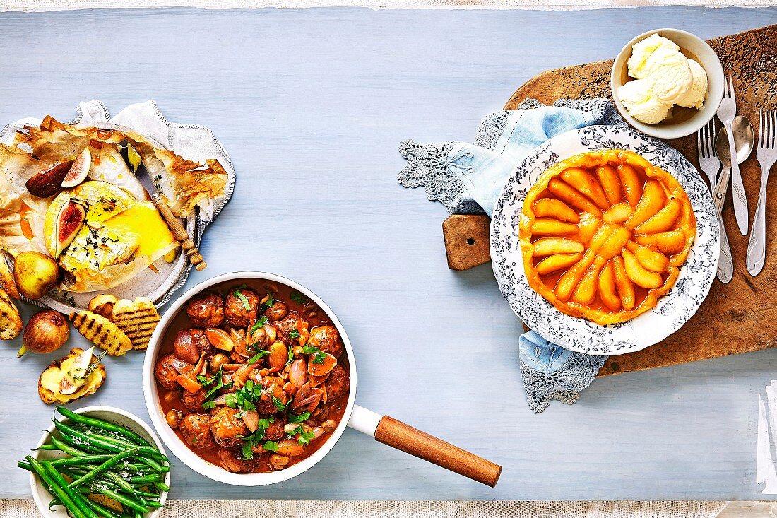 Baked Camembert, Beef bourguignon and Pear Tarte Tatin (France)