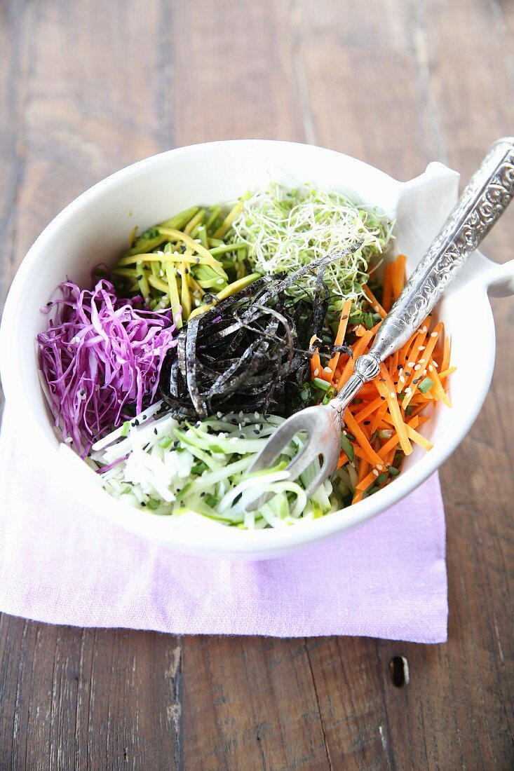 Vegan buddha bowl with different raw vegetables