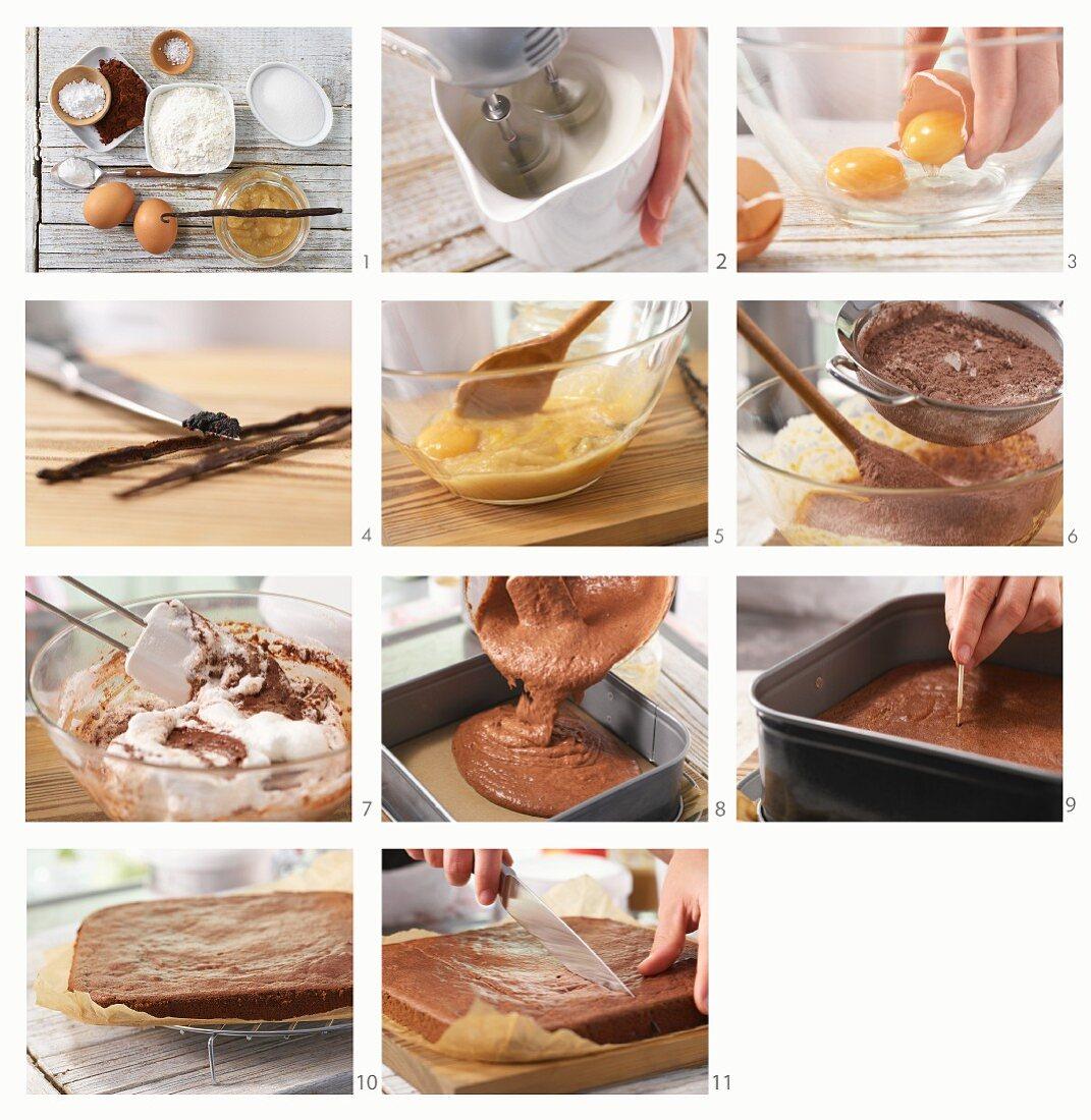 Apple brownies being made