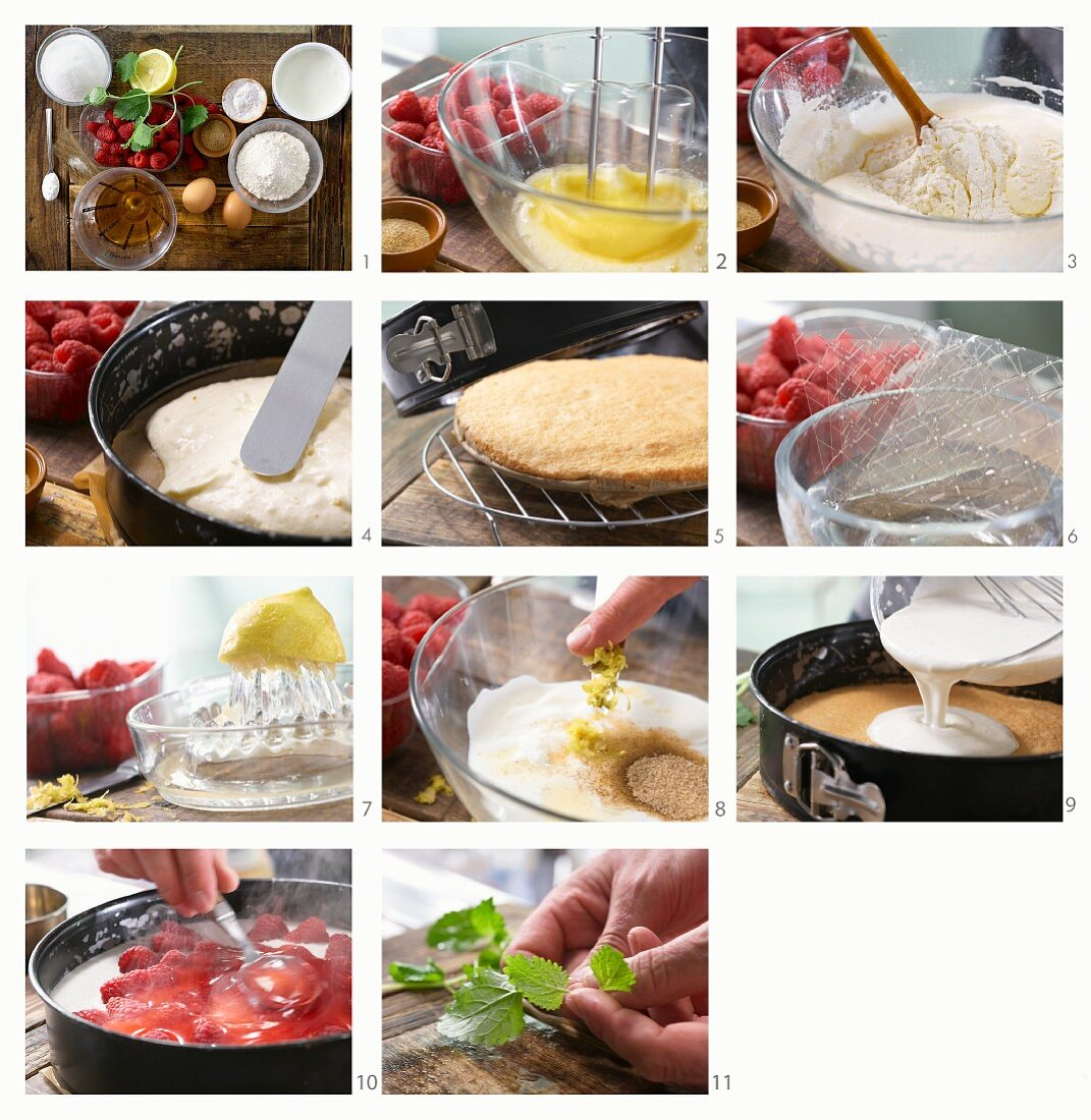 A raspberry tart being made