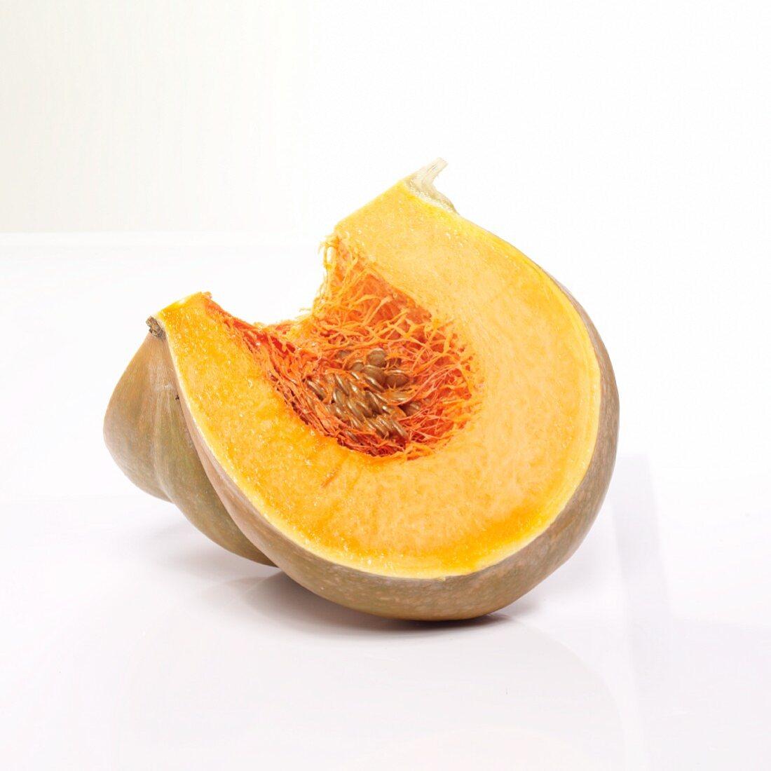 A quarter of a Muscat pumpkin