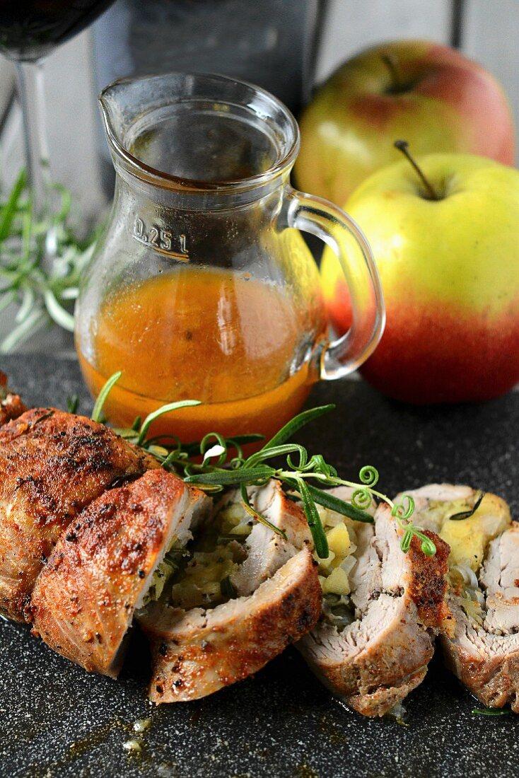 Pork tenderloin with apple stuffing