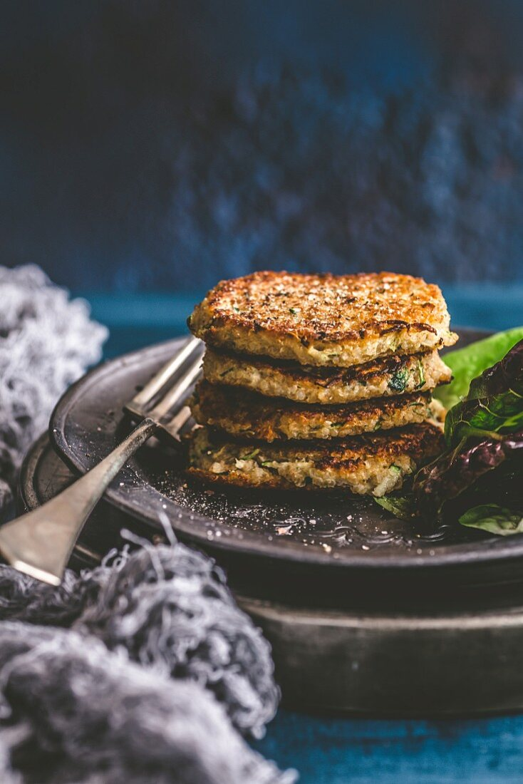 A stack of quinoa fritters