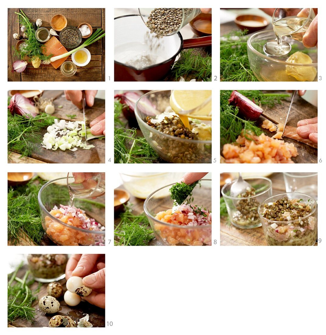 How to prepare a salmon steak with lentils, quail eggs and honey mustard sauce