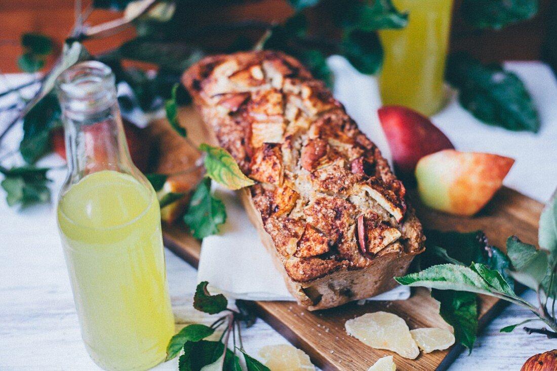 Wholegrain apple pie on a cutting board