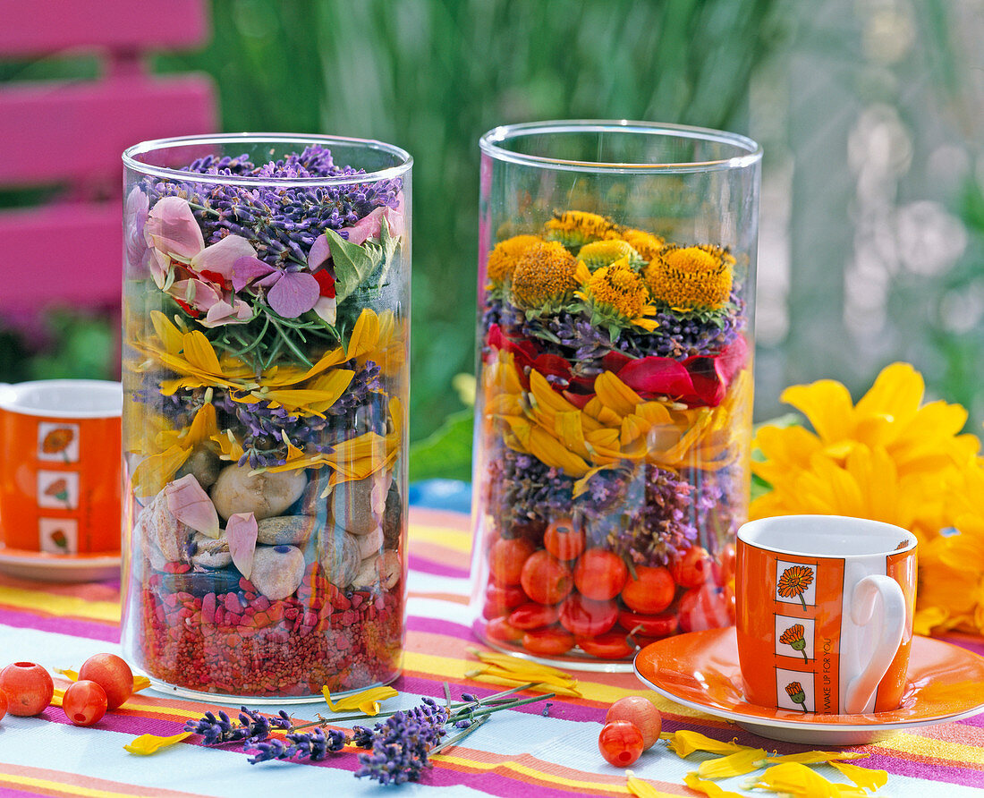 Jars filled with lavandula (lavender)