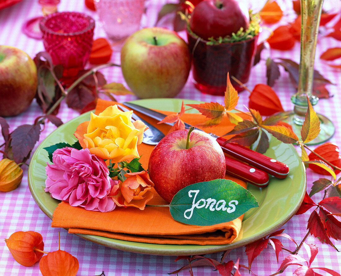 Plate Decoration With Apple And Rose Petals, Leaf With Name As A Place Card For Jonas