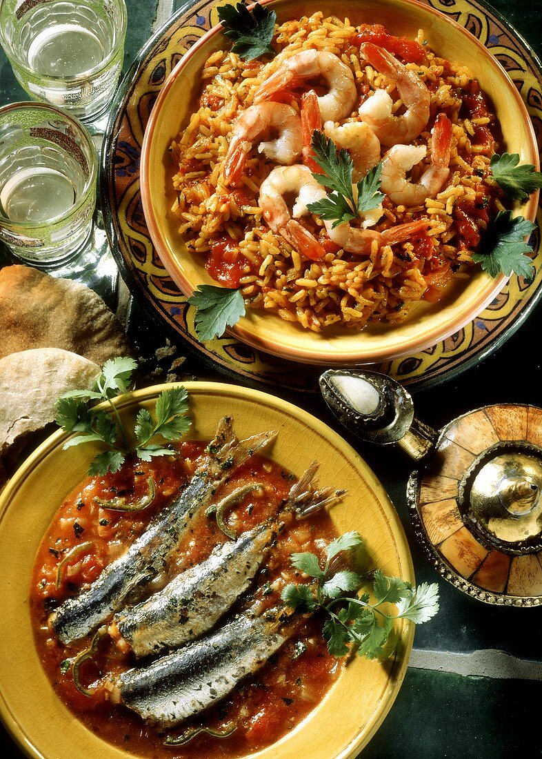 Sardines in a Tomato Sauce and Rice with Shrimp