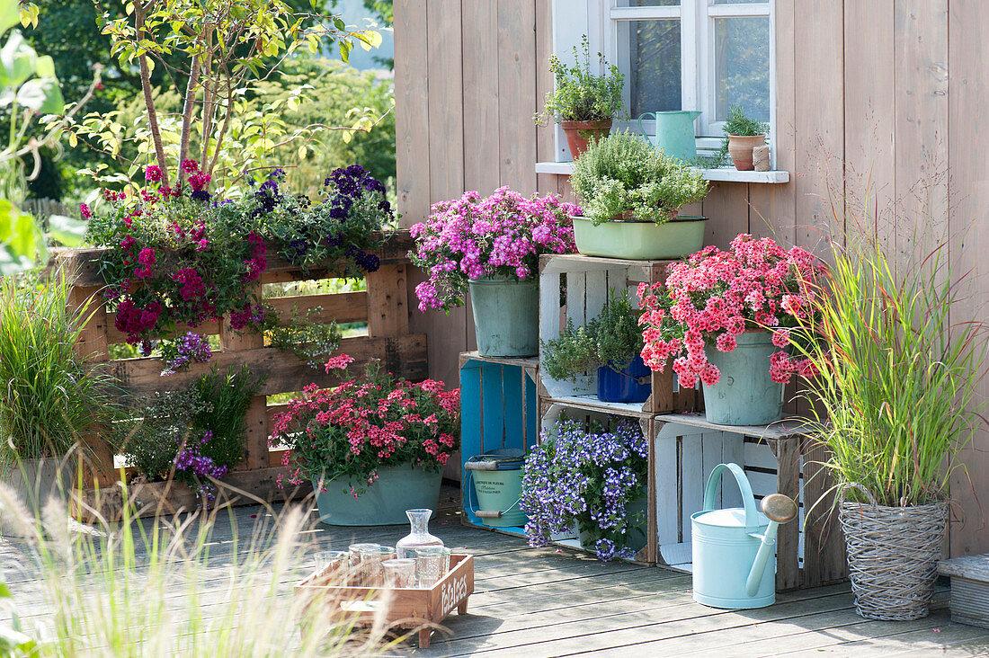 Terrasse mit selbstgebautem Regal aus … – Bild kaufen – 20 ...