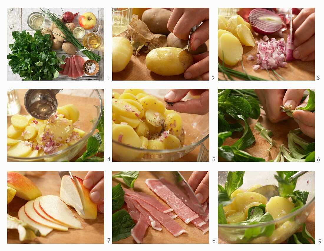 How to make a potato salad with lambs lettuce, salmon and apple