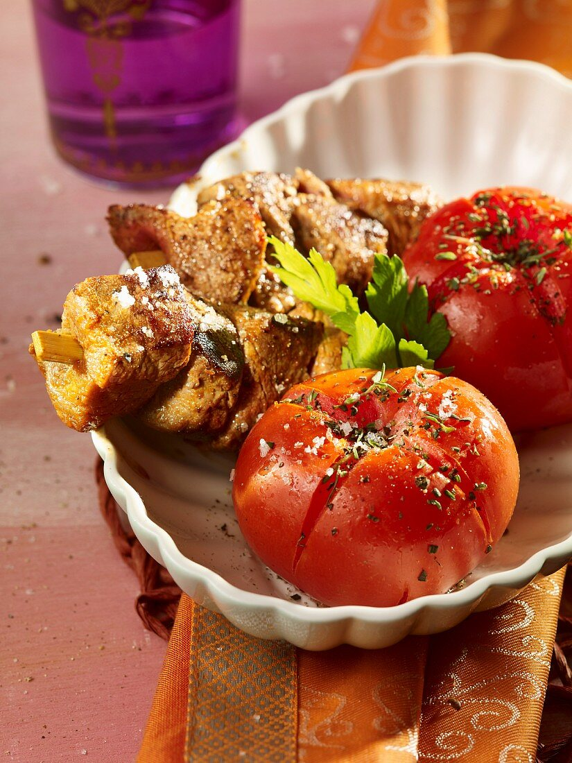 African-style meat with tomato gratin