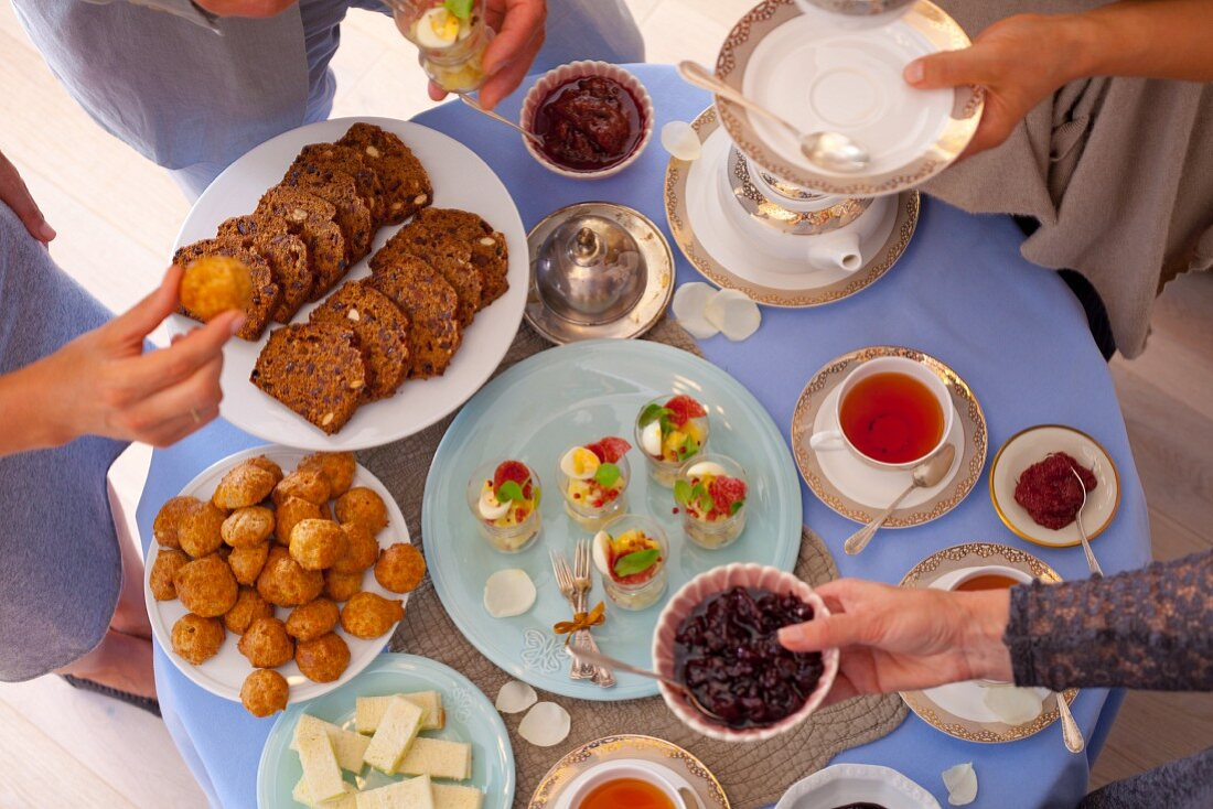 A party table with snacks for afternoon tea