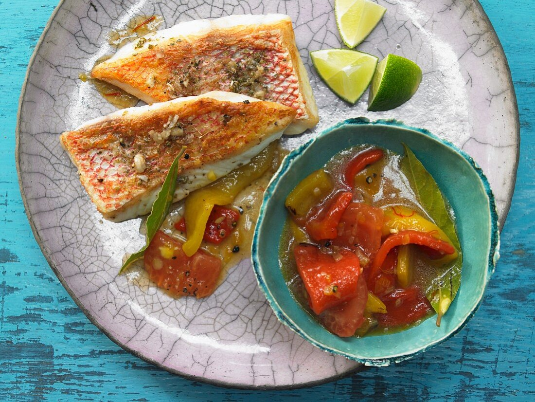 Snapper adobo with a pepper ragout